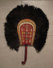 African Hausa Nigeria leather ostrich feathers fan    27 x 21 inches    #a
