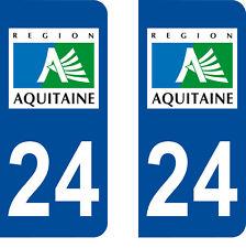 Département 24 sticker 2 autocollants style immatriculation AUTO PLAQUE