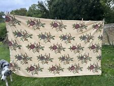 """More details for genuine vintage pair curtains 85"""" x 54"""" wool embroidery on cotton hooks c 1920s"""