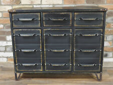 Industrial Vintage Antique Cabinet Cupboard Sideboard Unit Chest Of 12 Drawers Y