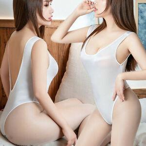 Womens Sexy Lingerie High Cut Thong Leotard Bikini Sheer Shiny Bodysuit Jumpsuit