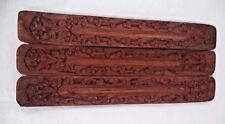 Lot of 3 Hand Made Carved Wood Incense Burner Holder (Wooden 3 Pack, Gift)