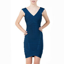 HERVE LEGER Nicolette Royal Blue Bodycon Spandex Stretch Sleeveless Dress XS/0