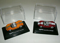 2 Hot Wheels Ford GTX1 Concept Cars Diecast 1:87 w/ Display Cases 2007 Orange &