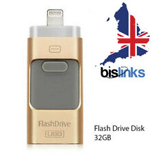 3 in 1 USB Flash Drive Disk Storage Mémoire 32GB Pour iPhone X 8 7 6 6S 5 - Gold