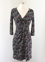 White House Black Market Floral V-Neck Dress Size 0 Drape Black White Purple