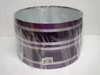 "11"" Ribbon Drum Shade, Pendant, Lampshade, Ceiling Light.purple, - plum silver"