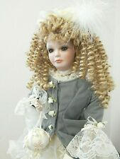 "Victorian Style Treasured Heirloom/Kais 20"" Porcelain Doll in Grey and Ivory"