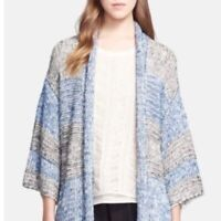 Vince Knit Poncho Cardigan Sweater Stripe  XS/S  Blue Gray Shawl Collar
