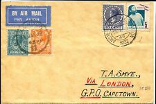 Netherlands to Capetown via London Uk Airmail Cover Postage Amsterdam 1932
