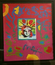 "PETER MAX "" Liberty Head II"" Collage 1997, Original Acrylic Painting"