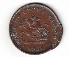 RARE DOUBLE STRUCK DOUBLE OFFSET BANK OF UPPER CANADA 1852 HALF PENNY TOKEN