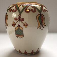 Ukrainian Hutsol Motif Art Pottery Vase Signed M. Tymiak 1986 Cream Green Yellow