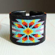 BR508-200 Black Artisan Guatemala Native Medallion Star Cuff Glass Bead Bracelet