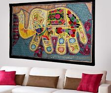 HANDMADE ELEPHANT BOHEMIAN PATCHWORK WALL HANGING EMBROIDERED TAPESTRY INDIA X70