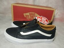 New Vans Old Skool Premium Leather Men Size 8 Black True White Skate Shoe