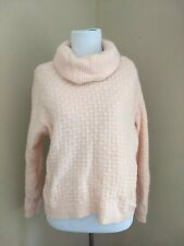 Vtg Jeanne Pierre Turtleneck Sweater Lambswool/Angora Pale Pink Size L