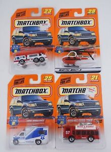 Lot Of 4 Matchbox To The Rescue Auxilary#21 ladder#23 Ambulance#25 Helicopter#29