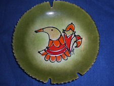 C JERE Signed Mid Century Modern Enamel Dish BIRD Green/Orange  Ashtray