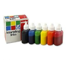 6 BRIGHT SCOLA MARBLING INK 25ml DROPPER TOP BLUE GREEN ORANGE RED BLACK YELLOW