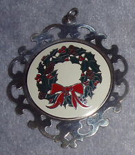 1978 Lunt Sterling Silver Frame 1st Issue Enamel Wreath Xmas Ornament Medallion
