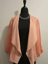 RUBY RD NWT Open Front Linen Blend Top Jacket Sz 6 Peach Pink Chiffon Neckline