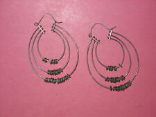 Mid-Century Modern Sterling Three Hoop Earrings With Moveable Beads