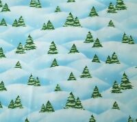 Just Chillin' BTY Emma Leach Quilting Treasures Christmas Tree Scenic Blue