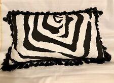 French Cottage Pillow Black White Zebra Farm Fresh Tassel Fringe Lumbar