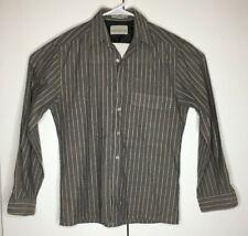 SERGIO VALENTE Mens Long Sleeve Button Front Shirt Sz Small Grey Beige L'uomo