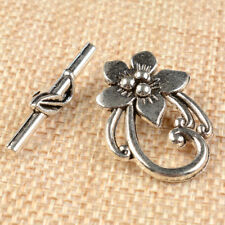 10 Sets Antique Slver/Gold/Bronze Tibetan Silver Flower Shape Toggle Clasps DIY