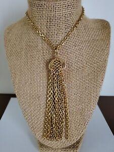 Ben Amun Gold Tone Long Tassel Pendant Necklace ~ New Old Stock