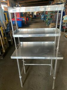 STAINLESS STEEL WORKBENCH / TABLE WITH 2 SHELVES (MG1433)