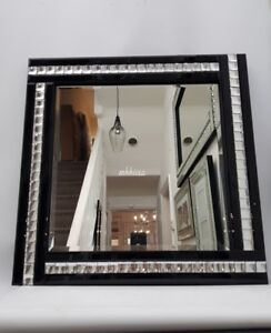 Elegant Square Black Wall Mirror Sparkly Silver Crystal Border 60X60cm