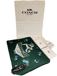 NEW! COACH Rexy Canvas Turnlock Leatherware Pouch 26/Clutch V5/Green #51227