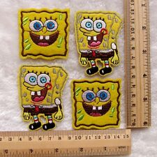 Kids Gift 4pcs Sponge Bob Embroidered Iron/Sew On Patch Motif Appliqué
