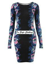 """""""CHASTITY"""" GORGEOUS LADIES NAVY FLORAL SIZE 8 FITTED STRETCH PENCIL DRESS PARTY"""