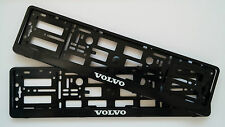 2 x VOLVO BLACK NUMBER PLATE SURROUNDS HOLDER FRAME FOR ANY VOLVO CARS