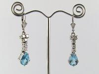 Ohrhänger Ohrringe 14K 585 Weißgold Aquamarin Tropfen 4,6 ct & Diamanten 0,70 ct