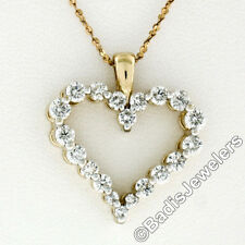 18K Yellow Gold 1.20ctw Round Brilliant Shared Prong Diamond Open Heart Pendant