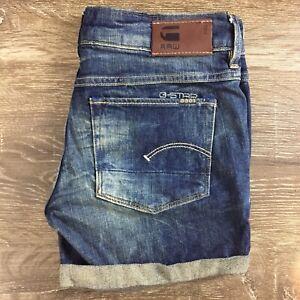 G STAR RAW Womens 3301 Blue Casual Denim Cropped Shorts VGC S35GR5