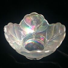 Antique LE Smith Signed Cabbage White Carnival Glass Bowl