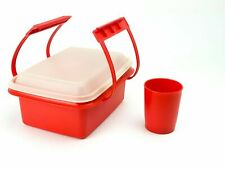 """Vintage Red Tupperware """"Pack N Carry"""" Lunch Pack with small cup"""