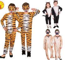 Kids Bookweek Tiger Lion Cat Dog Animal Costume Jumpsuit - 3,4,5,6,8 YRS