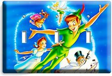 PETER PAN WENDY TINKER BELL NEVERLAND TRIPLE LIGHT SWITCH WALL PLATE COVER DECOR