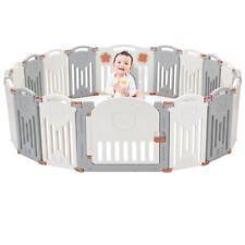 14-Panel FoldableBaby Playpen Kid Safety Activity Playard w/Locking Gate