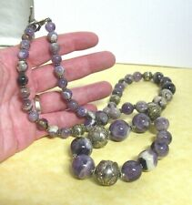 """STERLING SILVER AMETHYST NECKLACE STRING STRAND INDONESIA 28""""   119 INCHES"""