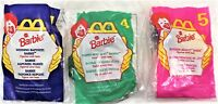 McDonald's 1996 Barbie Happy Meal Toys Complete Set of 3 New in Package