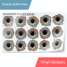 """Realistic Bullet Hole 3D Stickers Vinyl Decals Rusty Look 1x1"""""""