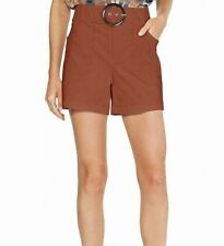 INC Womens Shorts Rich Umber Orange Size 14 Buckle Mid Rise Stretch $59 192